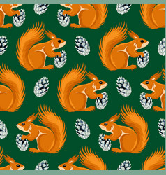 seamless pattern with squirrels and cones vector image