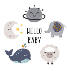 Set bohemian baby icons vector