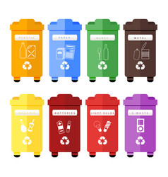 set of colorful trash sorting bins for vector image vector image