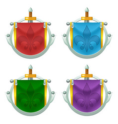 set of knight flag icons with metallic decoration vector image