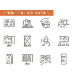 set online education symbols collection e vector image