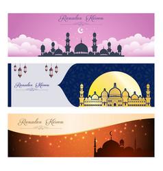 set ramadan kareem banner design vector image