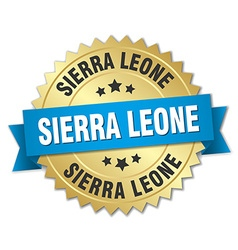 Sierra Leone round golden badge with blue ribbon vector