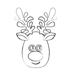 Silhouette blurred cartoon cute face reindeer vector