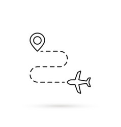 Simple thin line route like travel destination vector