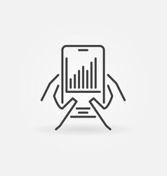 smart phone with line graph in hands linear vector image