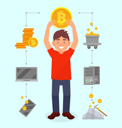 smiling young man holding big bitcoin coin over vector image