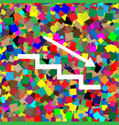 Stair down with arrow white icon on vector