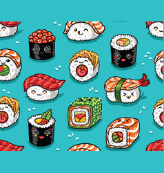 Sushi and sashimi seamless pattern in kawaii style vector