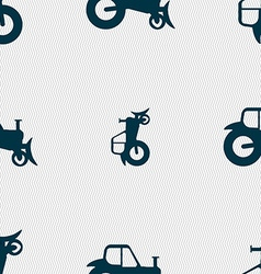 Tractor icon sign Seamless pattern with geometric vector image