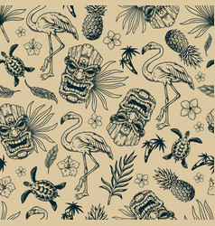 tropical hawaiian vintage seamless pattern vector image