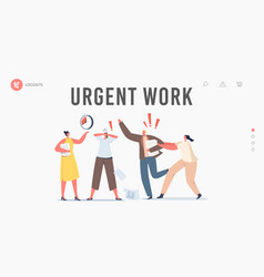 Urgent work landing page template anxious vector