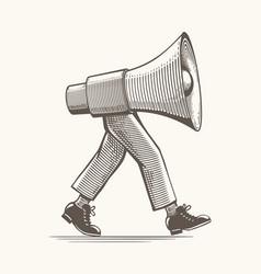 vintage loudspeaker on feets vector image
