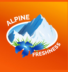 Washing clothes sticker alpine freshness symbol vector