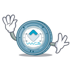 waving waves coin character cartoon vector image