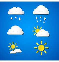 Weather Icons - Clouds Sun Rain on Blue Background vector image