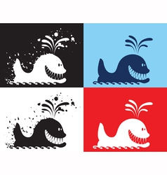 whale silhouettes vector image