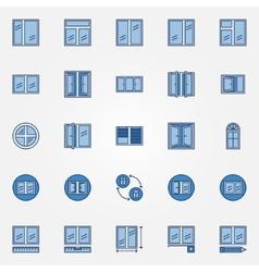 Windows blue icons set vector image
