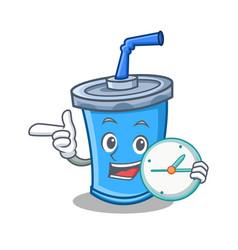 With clock soda drink character cartoon vector