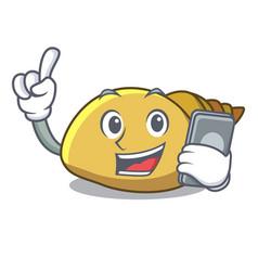 With phone mollusk shell character cartoon vector