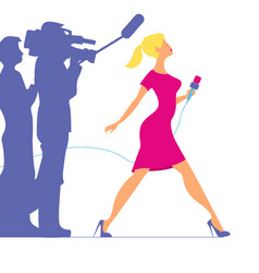 Woman with microphone profession tv reporter vector