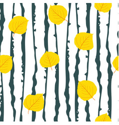 Yellow aspen leaf forest seamless pattern vector