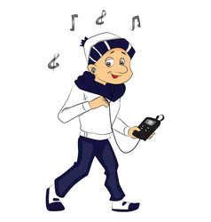 boy listening to music on mp3 player vector image