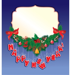 Christmas garland on blue background with empty fr vector image vector image