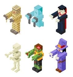 Halloween Monsters Icons Set Flat Design Isometric vector image