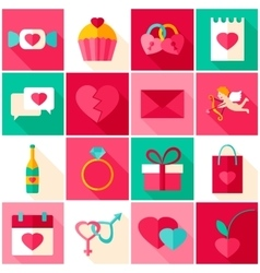Happy Valentines Day Colorful Icons vector image