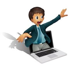 Laptop businessman vector image