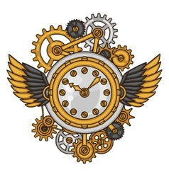 Steampunk clock collage of metal gears in doodle vector image vector image
