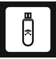 Usb flash drive with a virus icon simple style vector image vector image