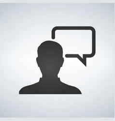 chat with user icon pictogram icon on gray vector image