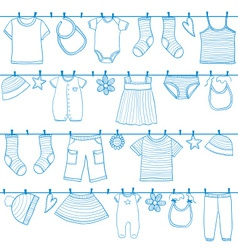 Children and baby clothes on clothesline vector image
