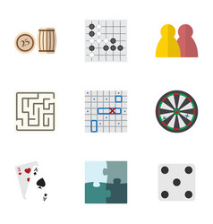 flat icon games set of lottery ace sea fight and vector image vector image