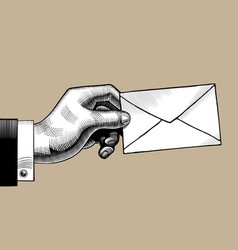 hand with a postal envelope vector image vector image