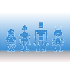 robots family vector image