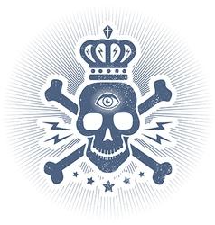 skull eye blue vector image vector image