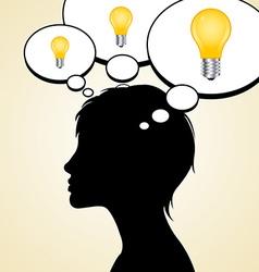 Woman silhouette with idea light bulbs vector image vector image