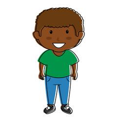 black little boy character vector image vector image