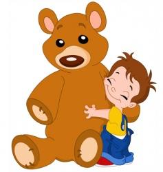 kid hug bear vector image vector image