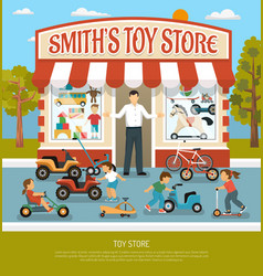 toy shop flat background vector image vector image