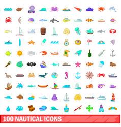 100 nautical icons set cartoon style vector image vector image