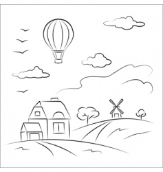 balloon over the country vector image vector image