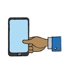 businessman hand holding smartphone app vector image vector image