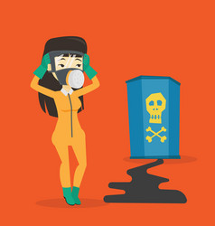concerned woman in radiation protective suit vector image