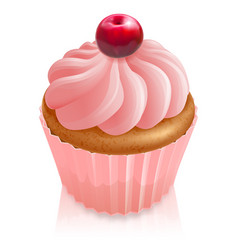 pink fairy cake cupcake with cherry vector image vector image