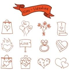 Romance theme valentine of icons vector image