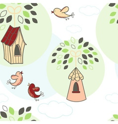 Seamless pattern with trees and birds vector image